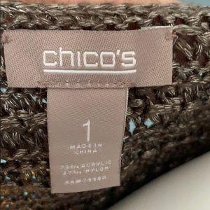 Chico's Sweaters - Chico's Metallic Open Cardigan Sweater Vest size 1
